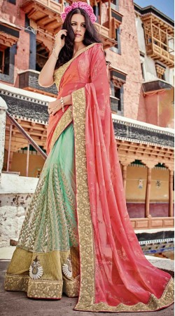 Pink Net Embroidery Work Saree With Blouse