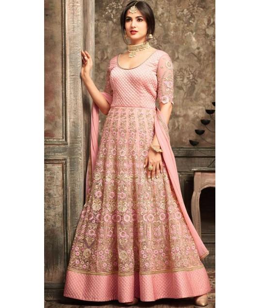 Pink Net Party Wear Anarkali Suit