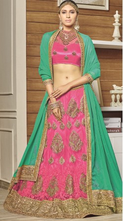 Pink Net Wedding Lehenga Choli With Chiffon Dupatta