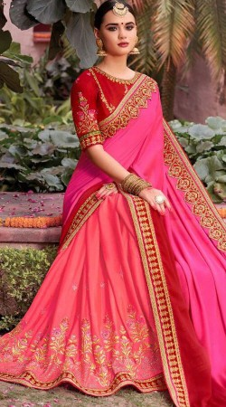 Pink Party Saree With Embroidery Work Blouse