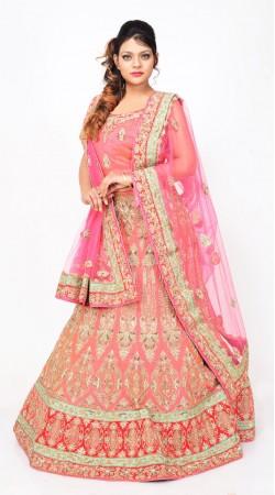 Pink Pure Silk Designer Bridal Lehenga Choli