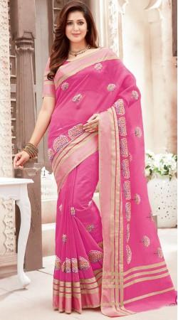 Pink Super Net Beautiful Saree With Blouse