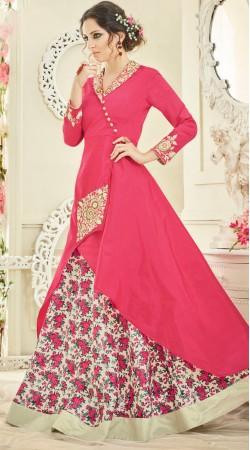 Pink Tapeta Silk Long Kameez With Floral Print Skirt