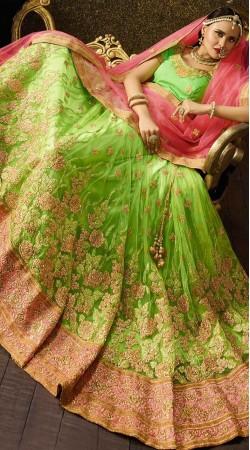 Pista Green Net Wedding Lehenga Choli with Pink Dupatta