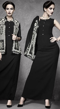Plain Black Tunic With Embroidery Work Jacket