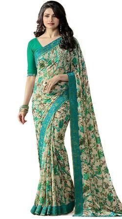Prachi Desai Off White Georgette Printed Saree