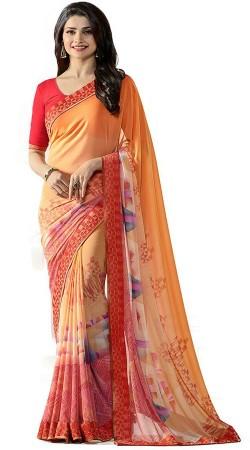 Prachi Desai Orange Georgette Printed Saree