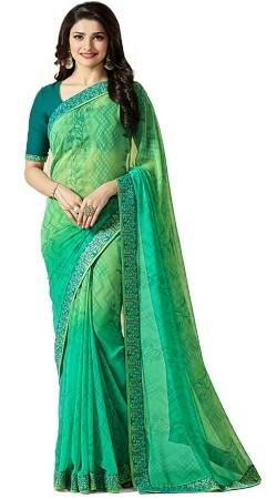 Prachi Desai Printed Green Georgette Saree