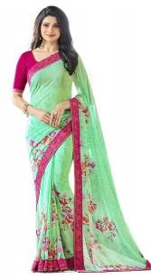 Prachi Desai Sea Green Georgette Floral Work Saree