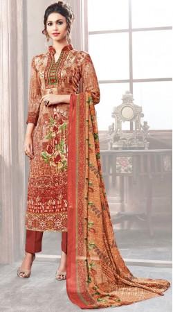 Printed Brown Pashmina Parallel Pant Suit