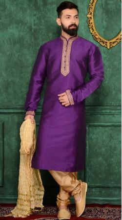 Purple Kurta Pajama With Embroidery Work