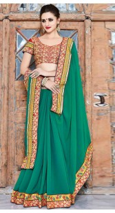 Rama Green Georgette Saree With Embroidery Work Blouse