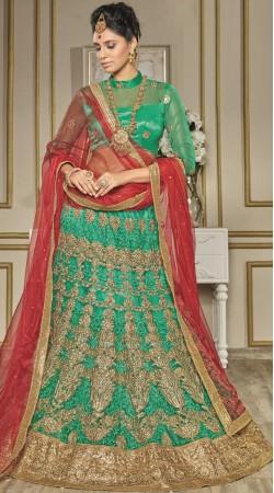 Rama Green Net Wedding Lehenga Choli With Red Dupatta