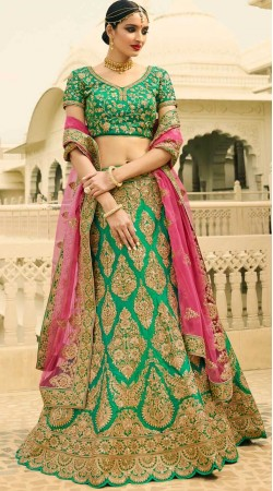 Rama Green Silk Lehenga For Engagement