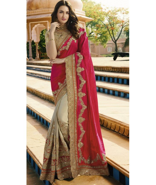 Red And Beige Satin Chiffon Party Saree With Classy Blouse 2WV1506323