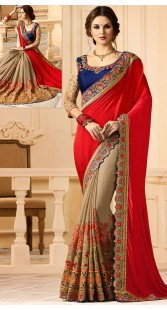 Red And Beige Satin Silk Embroidery Work Saree