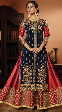 Red And Blue Velvet Designer Anarkali Suit