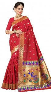 Red Art Silk Party Saree With Peacock Work