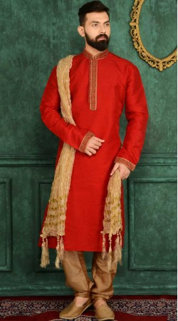 Red Banarasi Silk Embroidery Work Kurta Pajama