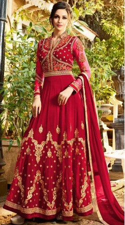 Red Bridal Anarkali Suit With Matching Dupatta