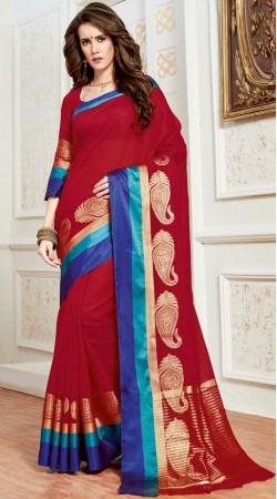 Red Cotton Silk Saree With Blue Border