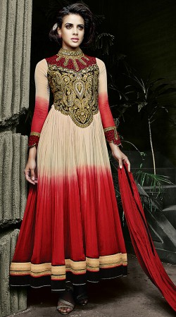 Red Embroidery Work Anarkali Suit