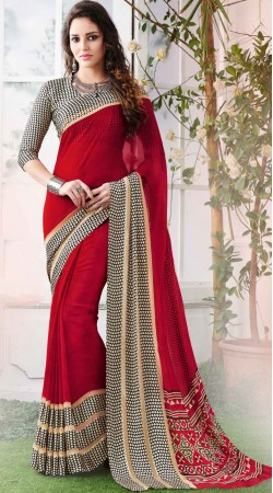 Red Georgette Saree With Printed Border