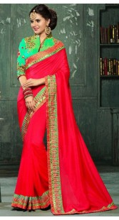 Red Georgette Silk Border Saree With Green Blouse