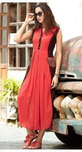 Red Georgette Stylish Long Kurti