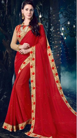 Red Moss Chiffon Party Wear Saree With Floral Border
