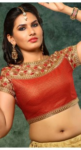 Red Net Embroidery Work Blouse