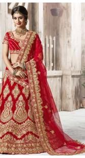 Red Net Wedding Bridal Lehenga Choli