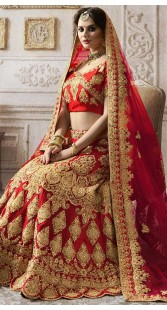 Red Nylon Satin Traditional Bridal Lehenga Choli