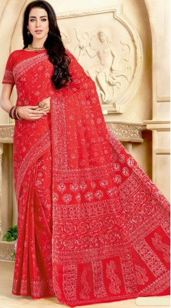 Red Pure Cotton Saree With Matching Blouse