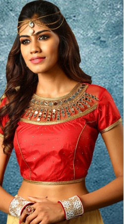 Red Round Neck Mirror And Stone Work Blouse