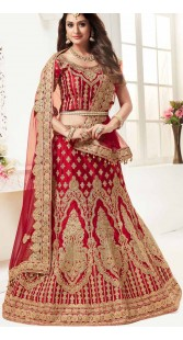 Red Satin Wedding Designer Bridal Lehenga Choli