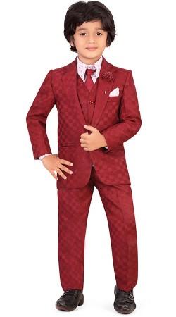 Red Silk Cotton Kid Boy Coat Pant