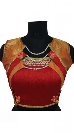 Red Silk Designer Blouse For Saree