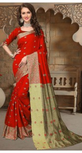 Red Silk Saree With Self Weaving Thread Work 3FD8598321