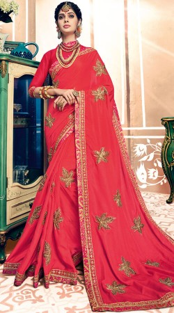 Red Two Tone Silk Saree With Embroidery Work