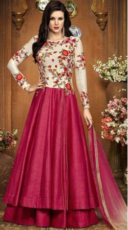 Reddish Pink Silk Party Wear Salwar Kameez