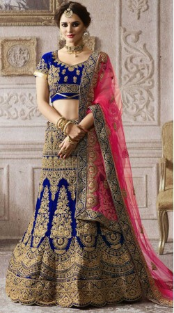 Royal Blue Velvet Bridal Lehenga With Pink Dupatta