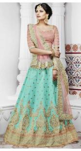 Sea Green Handloom Silk Lehenga For Wedding