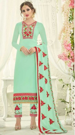 Sea Green Long Kameez With Parallel Pant