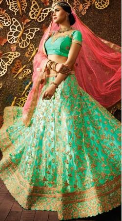 Sea Green Net Wedding Lehenga Choli With Pink Dupatta