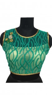 Sea Green Silk Blouse With Sequins And Embroidery Work