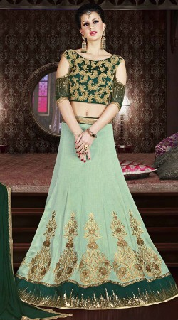 Sea Green Silk Lehenga With Cold Shoulder Choli