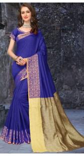 Self Weaving Thread Work Blue Silk Party Saree 3FD8598821