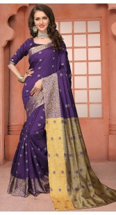 Self Weaving Thread Work Purple Silk Saree 3FD8598121