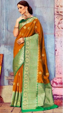 Self Weaving Work Golden Brown Silk Saree